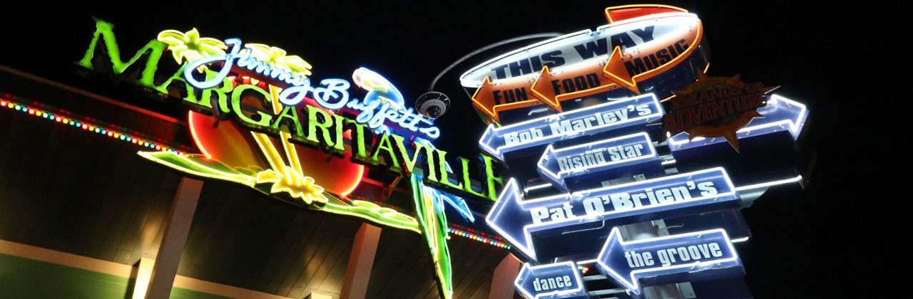Neon sign guide to restaurants and attractions at CityWalk
