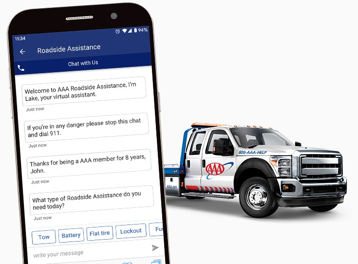 AAA tow truck and AAA virtual assistant