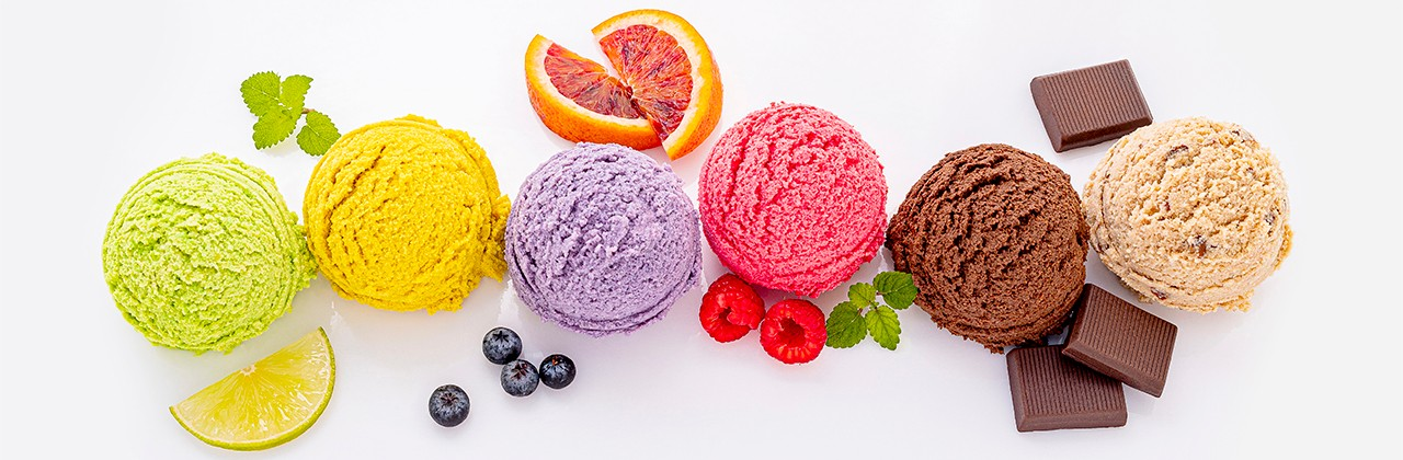 Various of ice cream flavor ball blueberry ,lime ,pistachio ,almond ,orange ,chocolate and vanilla isolate on white background . Summer and Sweet menu concept.