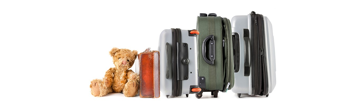 line of suitcases with a teddy bear