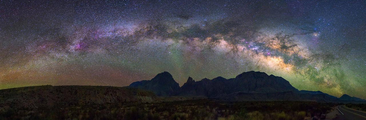 Panorama Milky way at  Big Bend National park, Texas USA. Constellation and galaxy