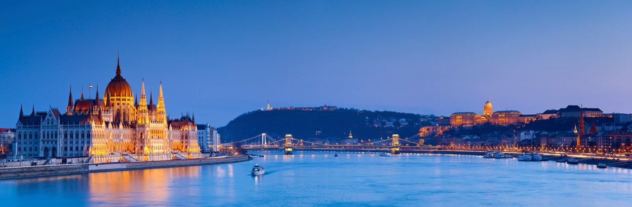 Panoramic image of Budapest, Hungary at night