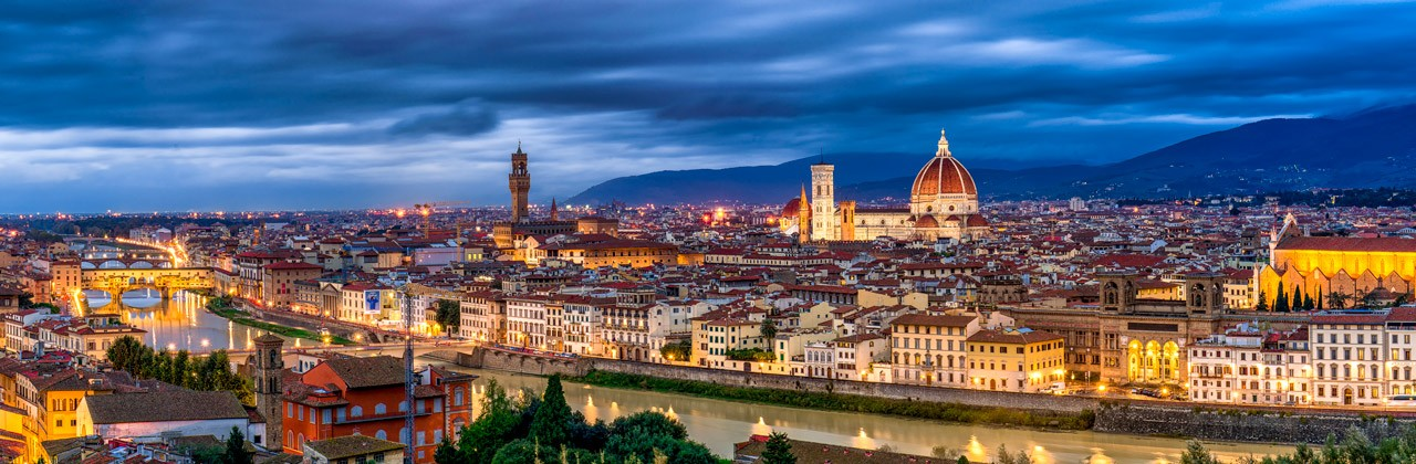 An evening skyline view of Florence, Italy