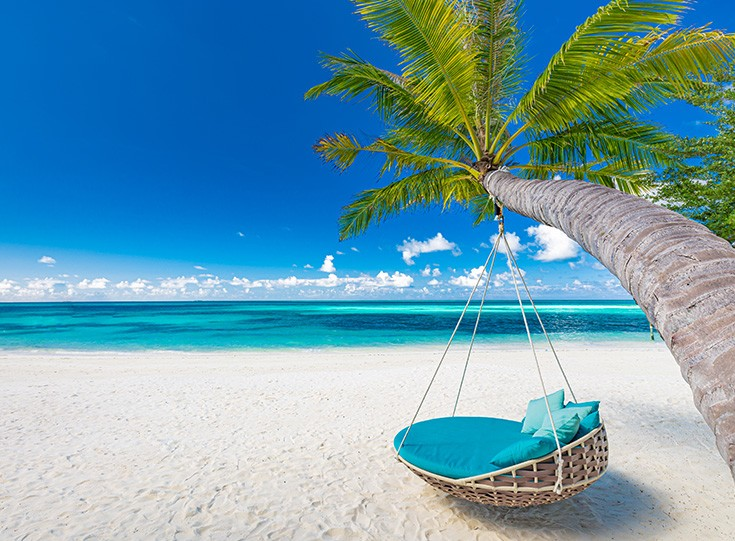 Swing on tropical beach