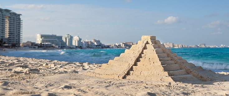 Sand pyramid in Cancun, Mexico