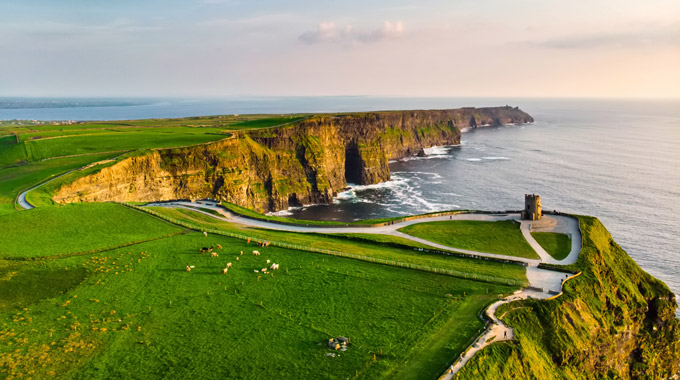 An aerial view of the Cliffs of Moher in Ireland