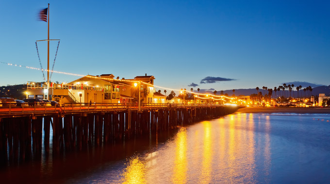Evening view of the pier in Santa Barbara