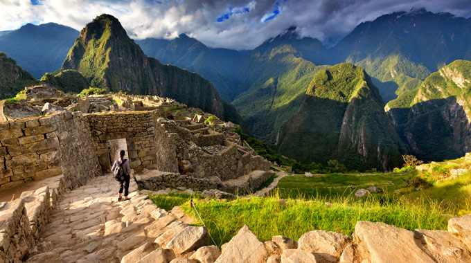 A view from a stairway at Machu Picchu