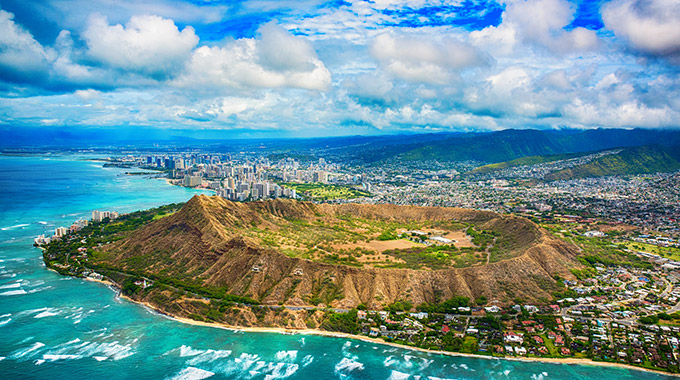 An aerial view of Diamond Head on the island of O'ahu