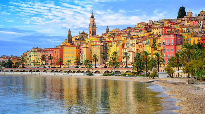 Seaside villas in Menton, a town in the South of France.