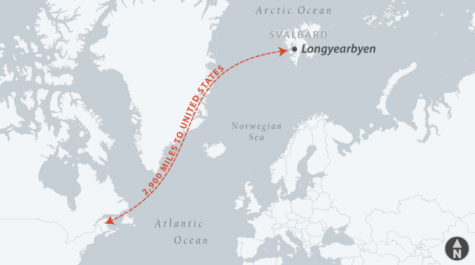 Map of Longyearbyen, Svalbard, relative to the United States