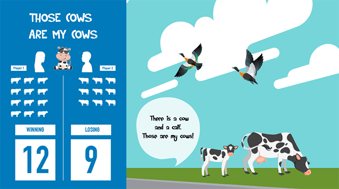 Those Cows are My Cows game rules explainer graphic
