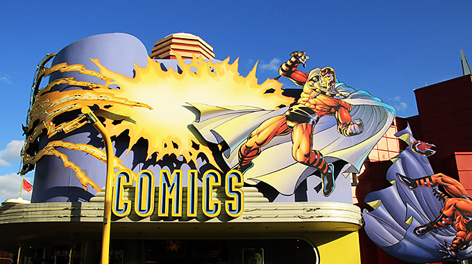 Comic book art outside a comic book store at Universal Orlando Resort