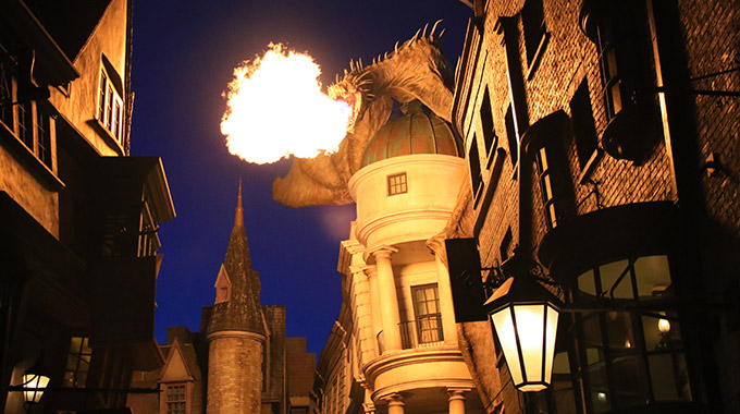 The Ukrainian Iron Belly dragon breathing fire at Universal Orlando Resort