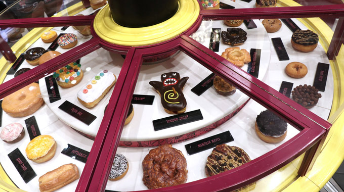Gourmet doughnut selection at Voodoo Doughnut