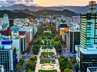An aerial view of Sapporo, Japan, at sunset