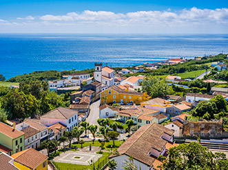 An aerial view of Ponta Delgada in the Azores, looking out to sea