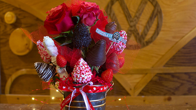 The Chocolate Dude's Valentine's strawberry bouquet is a crowd-pleaser. | Photo by J.J. Wagner