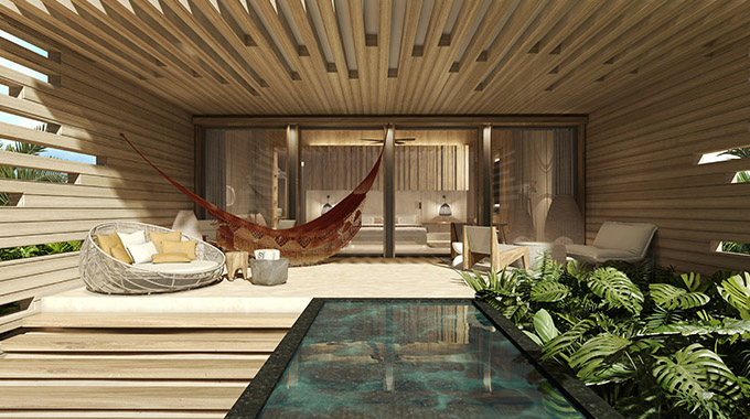 Banyan Tree Mayakoba's new Beachfront Sunrise Pool Suites use eco-friendly local materials such as chukum (limestone-based stucco) and Mexican artisanry to elevate the outdoor/indoor vibes of the plunge pool terraces. | Photo courtesy Banyan Tree Mayakoba