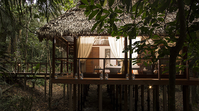Hacienda Concepción's recently debuted spa, Nua, takes its name from the local Ese Eja word for sky—precisely where your head will be after any of the rainforest-inspired natural therapies on the menu. | Photo courtesy Inkaterra