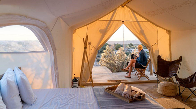 For such a minimalist barrier between you and the surrounding nature (in this case, the Utah desert), each Under Canvas tent is amazingly well appointed. | Photo courtesy Under Canvas