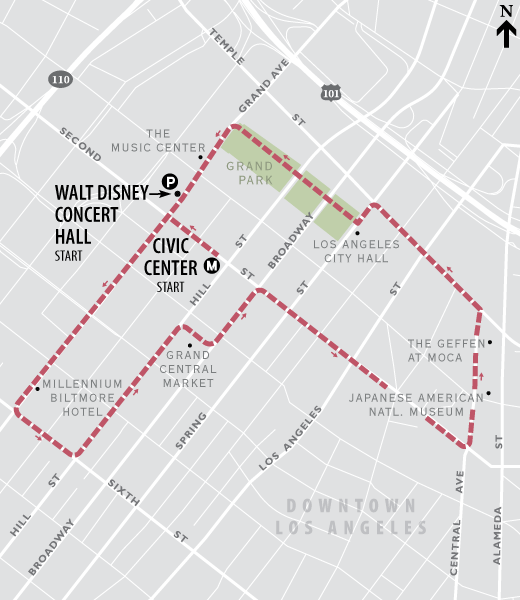 Downtown Los Angeles walking route