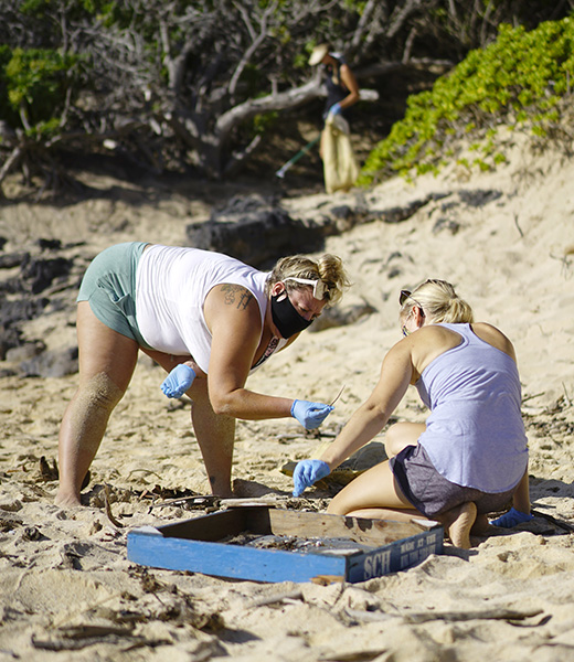 olunteers can participate in a self-directed beach clean-up as part of Mālama Hawai'i. The photos were taken at Makapu'u on O'ahu.