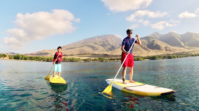 Stand-up paddle boarders in Maui