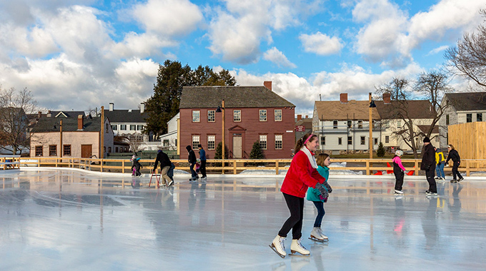 Ice skating at the Strawbery Banke Museum in Portsmouth, New Hampshire, evokes an earlier time. | Photo by Phil Cohen