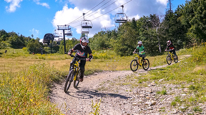 In Dover, mountain bikers descend ski trails at Mount Snow. | Photo courtesy Mount Snow