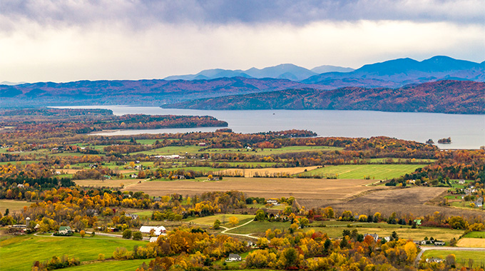 A short detour from Route 100 leads to Sunset Ledge, which provides a view of the Champlain Valley to the west. | Photo by vermontalm/stock.adobe.com