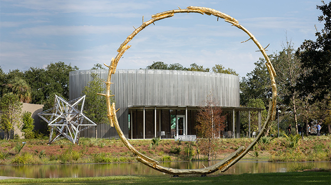 "Ugo Rondinone's monumental sculpture, ""The Sun,"" is among the celebrated works around the New Orleans Museum of Art within New Orleans City Park. 
