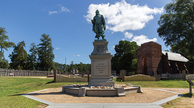 A statute of Captain John Smith, one of the first settlers of Jamestown, is located within the outlines of the original James Fort. | Photo by Parker Michels-Boyce