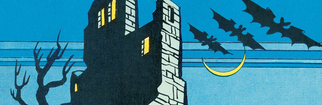 Pop art illustration of a haunted house and bats