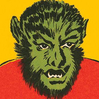 Pop art drawing of a werewolf