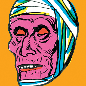 Pop art illustration of a mummy's head