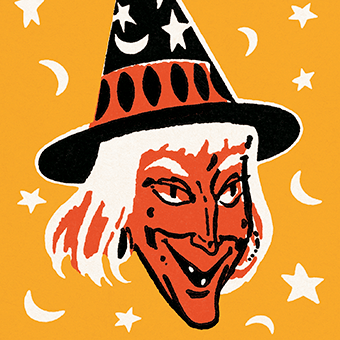 Pop art illustration of a witch