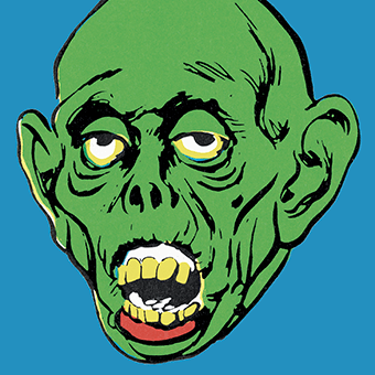 Pop art illustration of a zombie
