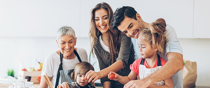 Multigenerational family cooking