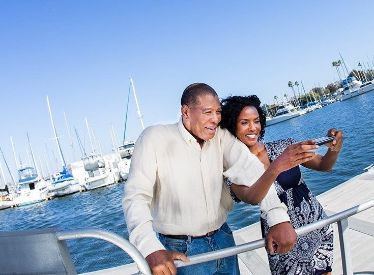 African american couple sailing