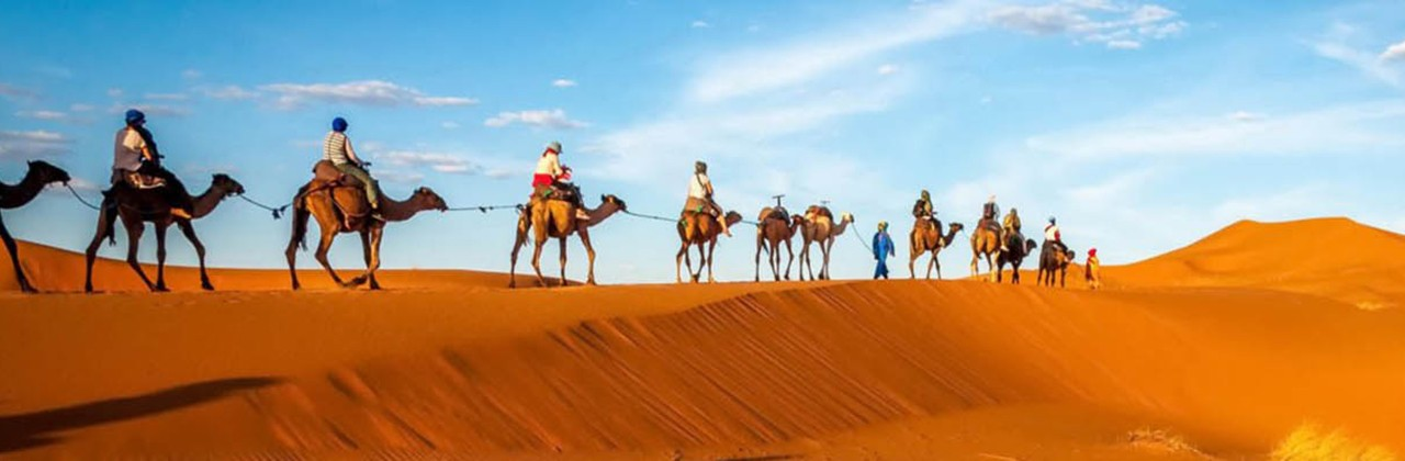 A tour group travels through the dunes of Morocco