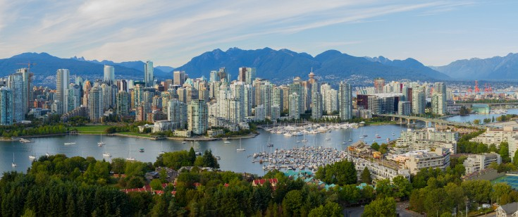 Arial view of Vancouver, Canada