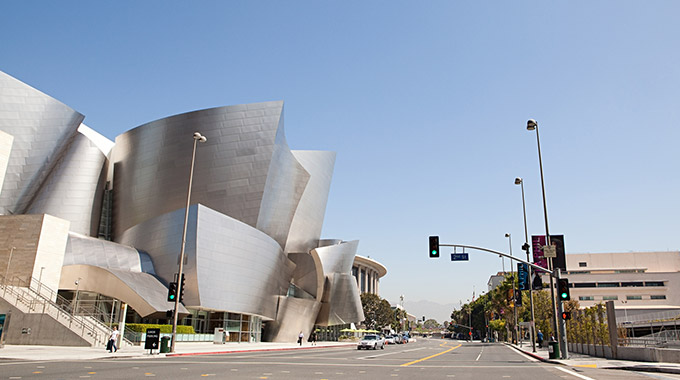 The exterior of Walt Disney Concert Hall, as seen facing north.