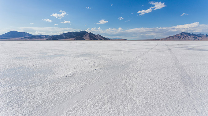 The Bonneville Salt Flats in Utah