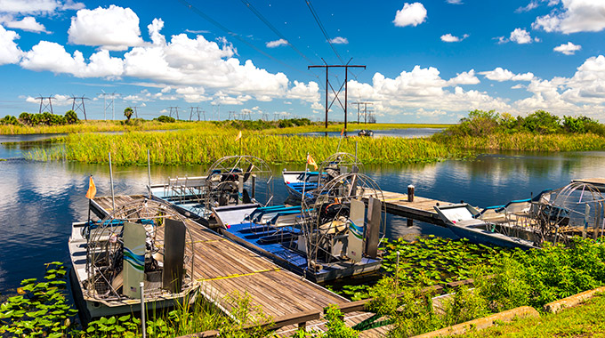 Airboats at a dock in the Florida Everglades
