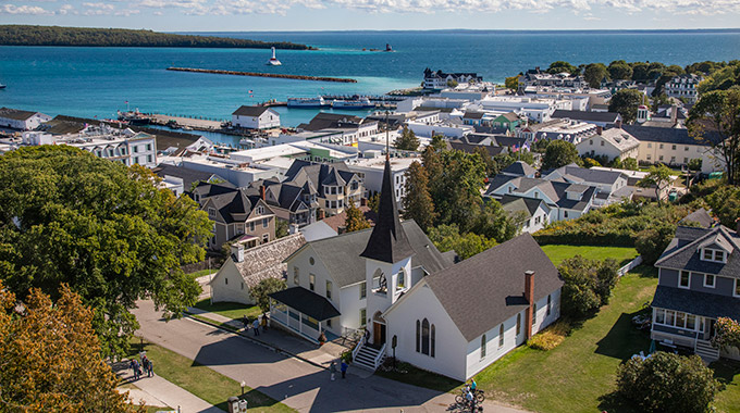 An aerial view of Mackinac Island in Michigan
