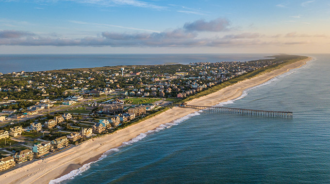 An aerial view of the town of Avon in the Outer Banks, North Carolina