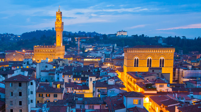 An evening view of rooftops in Florence