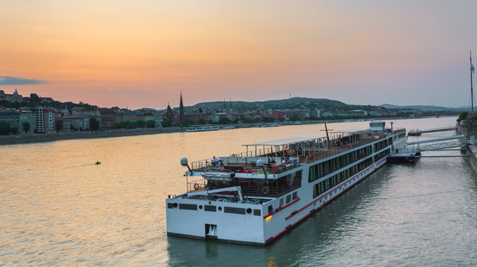 A river cruise boat docked along the Danube in Budapest