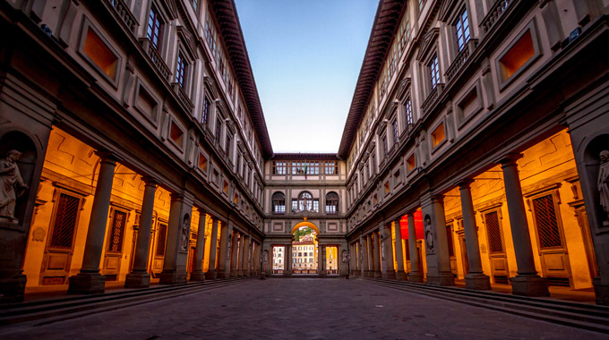 The Uffizi Gallery in Florence in the evening